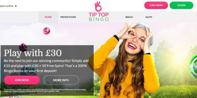Tip Top Bingo - Brand New Bingo Site | Get 50 Free Spins