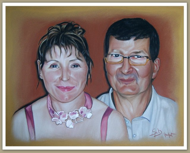Dessinateur portraitiste, Portrait d'un couple...