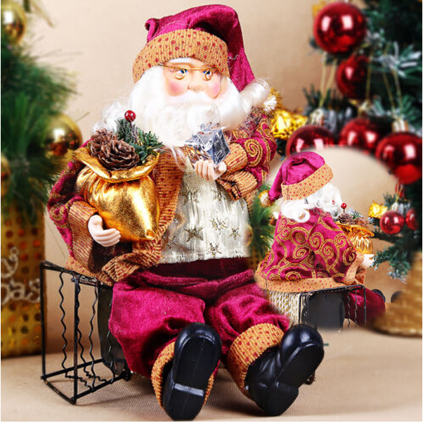 Christmas Sitting Santa Claus Doll Home Xmas Ornament Decoration Gift