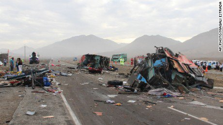 A highway crash involving three buses and a freezer truck in northern Peru killed at least 37 people, the country's Ministry of Health said Monday.