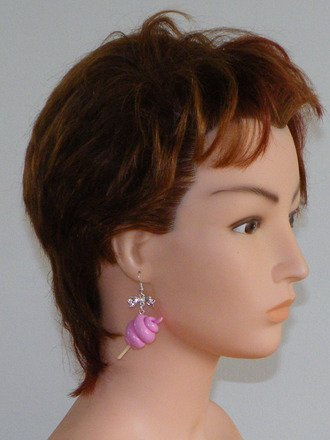 Boucle d'oreille Barbapapa en fimo Argent 925 : Boucles d'oreille par jl-bijoux-creation