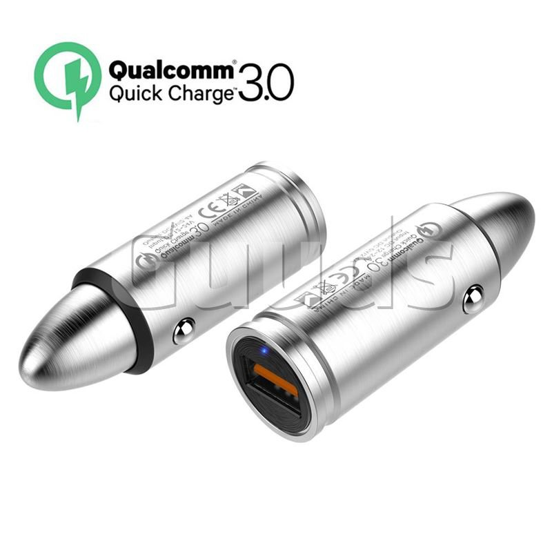 QC 3.0 Quick Charge Pistol Bullet Modeling Car Charger 304 Stainless Steel Metal for Mobile Phone - Charger - Guuds