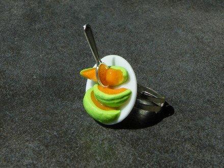 Bague assiette melon en fimo réglable