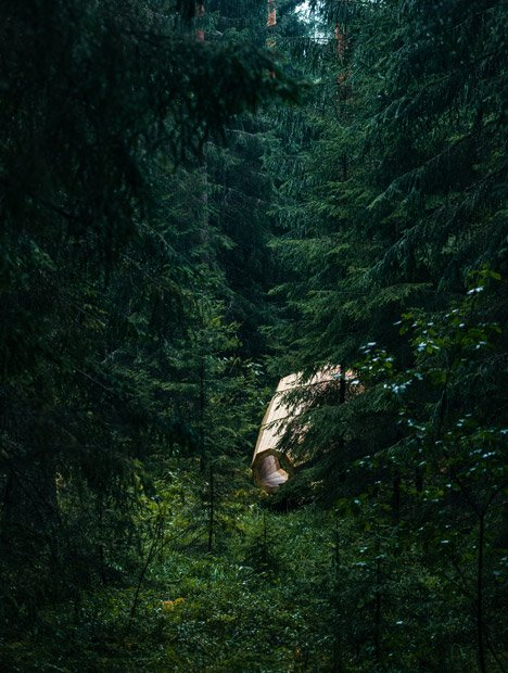 Giant timber megaphones amplify sounds of Estonian forest