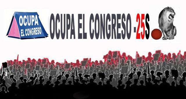 Ocupa el Congreso. Le 25 septembre, des milliers d'espagnols appellent à encercler le parlement