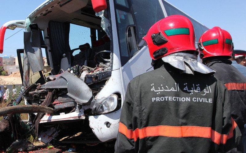 15-09-2017 - Rabat -  Collision frontale entre deux autocars à Rabat, une trentaine de blessés