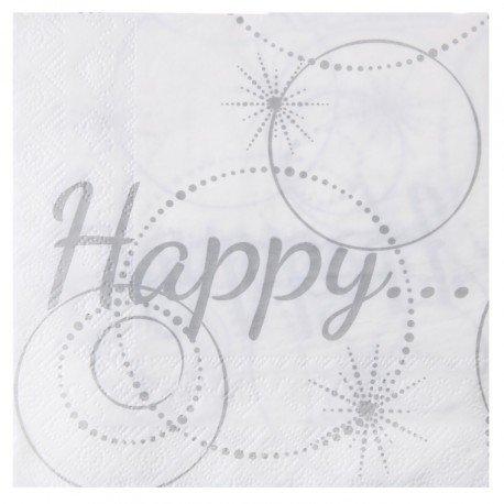 Serviette de table Happy blanc et argent papier x20 : Serviette papier