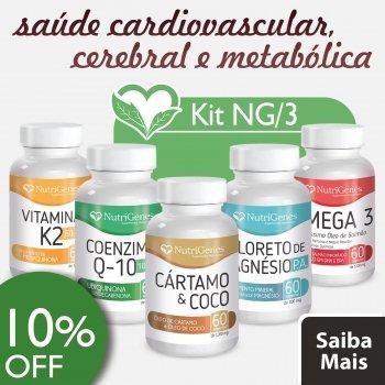 Vitamina K2 + Coenzima Q-10 + ?leo de C?rtamo & Coco + Cloreto de Magn?sio P. A. + ?mega 3 - NutriGenes