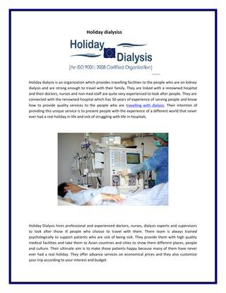 Holiday dialysis