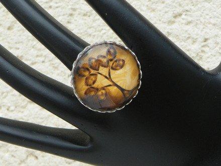 Bague réglable cabochon verre arbre abstrait 3 : Bague par jl-bijoux-creation