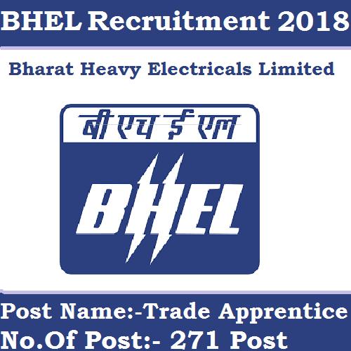 BHEL Recruitment 2018   250 Post For Graduate & Technician Apprentices