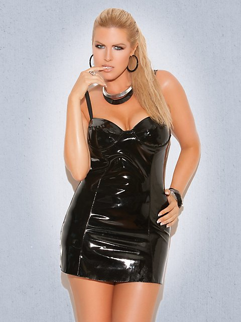 Vinyl Mini Dress - Leather & Patent at Plus Size Lingerie Boutique