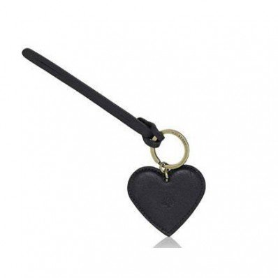 Mulberry Heart Fob Keyring Black Natural Leather - Mulberry Keyrings - Purses Accessories