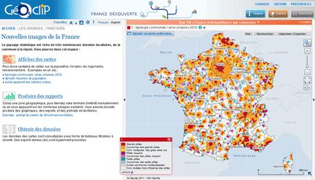 Cartographie interactive - webmapping - statistiques - carte de France - atlas - Géoclip