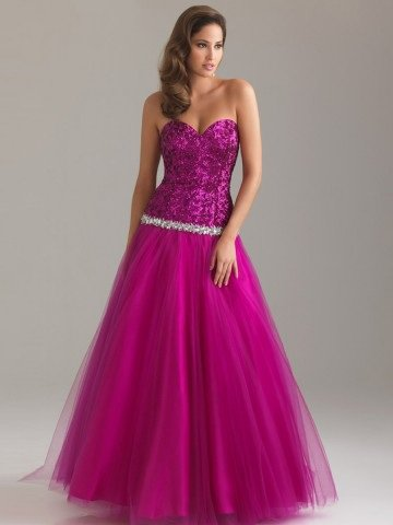2012 Style A-line Sweetheart Paillette Sleeveless Floor-length Tulle Fuchsia Prom Dress / Evening Dress