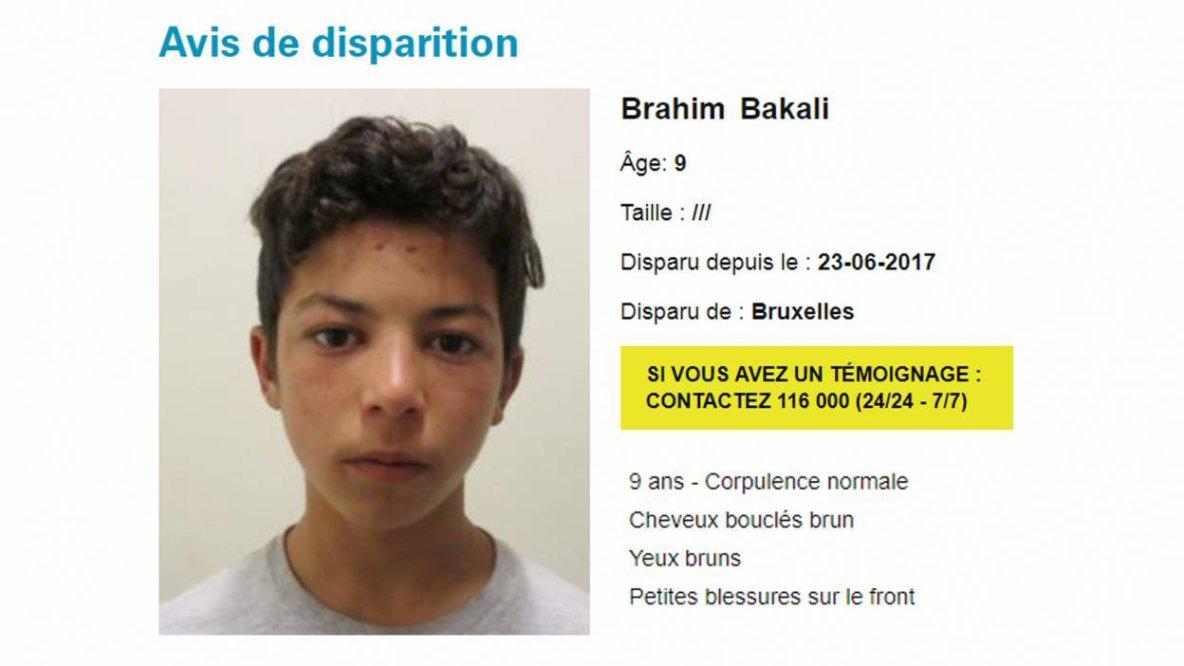 Avis de recherche pour un garçon de neuf ans, mineur non accompagné, disparu à Bruxelles