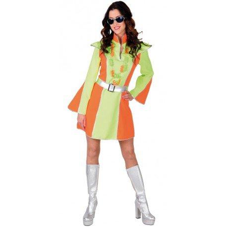 Déguisement Disco Fluo vert et orange femme luxe : Déguisements Disco