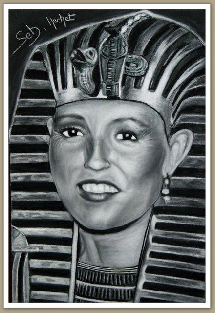 Dessinateur portraitiste, Portrait d'une femme portant le masque de Toutankhamon...
