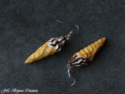 Boucle d'oreille cornet de glace en fimo Argent 925