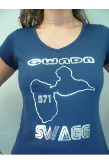 "T-shirt femme bleu foncé ""GWADA Swagg"" - lOOked MIAMI"
