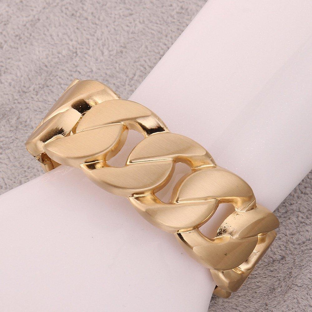 Curb Chunky Chain Gold Tone Women's Bangle Bracelet