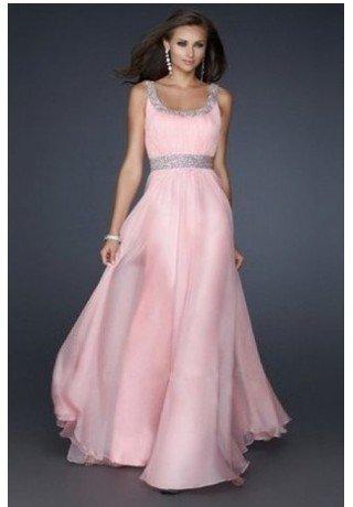 A line chiffon long dress strap cam slot - Evening - Fashionweddingdress.co.uk