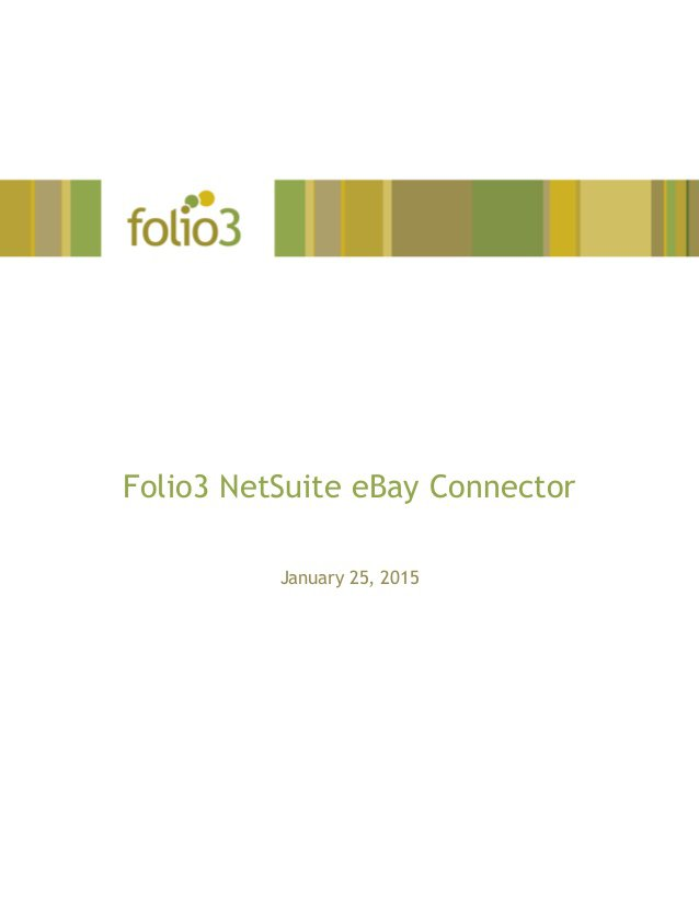 Folio3's NetSuite eBay Connector is a Built For NetSuite (BFN) certified, out of the box, Integration as a Service (IaaS) solution that provides fully automate…