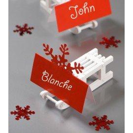 Marque place flocon de neige rouge en carton les 10 : Déco de table