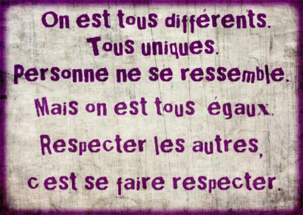On est tous différents.....