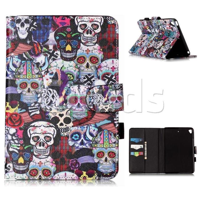 Halloween Skulls Folio Flip Stand Leather Wallet Case for iPad Mini 5 Mini5 - Leather Case - Guuds