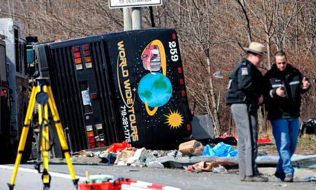 New York bus driver says lorry hit him before crash that killed 14