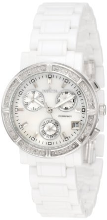 Invicta Women's 0727 Ceramic Chronograph Diamond Accented Mother of Pearl Ceramic Watch - The Best Items