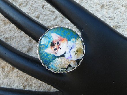 Bague réglable cabochon verre chat 1 : Bague par jl-bijoux-creation