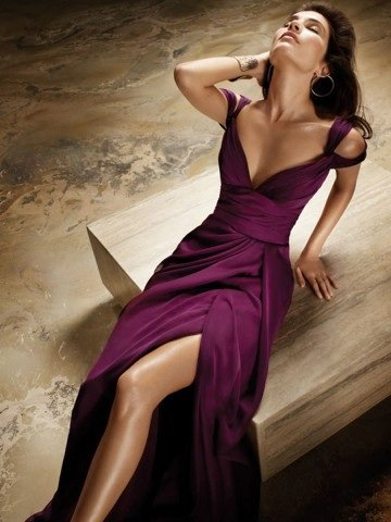 2012 Spring Style Sheath / Column Off-the-shoulder Sleeveless Floor-length Chiffon Burgundy Prom Dress