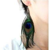 Boucles d'oreilles plume de paon, femme, pendante sur PriceMinister