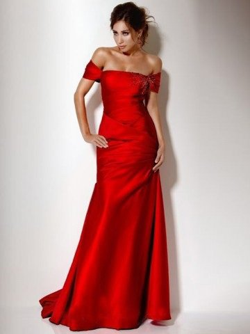 2012 Style A-line Off-the-shoulder Beading Sleeveless Floor-length Elastic Woven Satin Red Prom Dress / Evening Dress