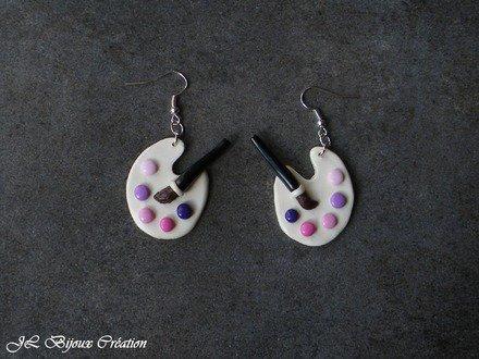 Boucle d'oreille palette de peinture en fimo Argent 925 : Boucles d'oreille par jl-bijoux-creation