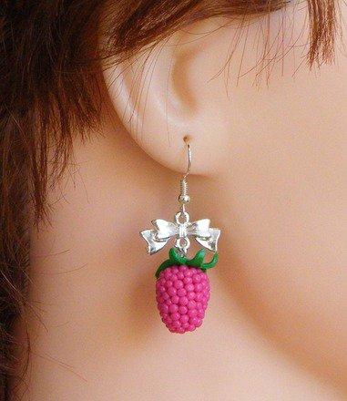 Boucle d'oreille framboise en fimo Argent 925 : Boucles d'oreille par jl-bijoux-creation