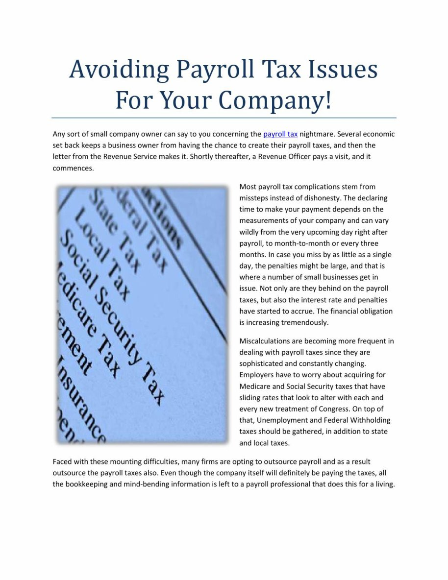 Avoiding Payroll Tax Issues For Your Company!