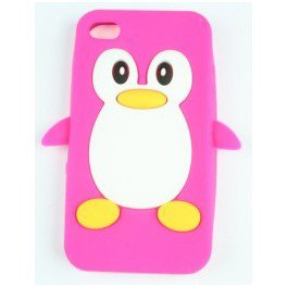 Coque iphone 4/ 4s rose pingouin en silicone - PardoShop