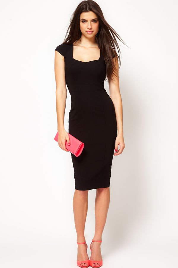 Elegant Square Neck Cap Sleeve Dress - OASAP.com