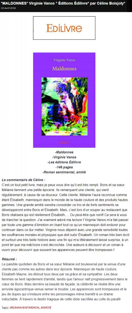"""Virginie Vanos dans LES MILLE ET UNE PAGES DE LM pour son ouvrage """"Maldonnes"""""""