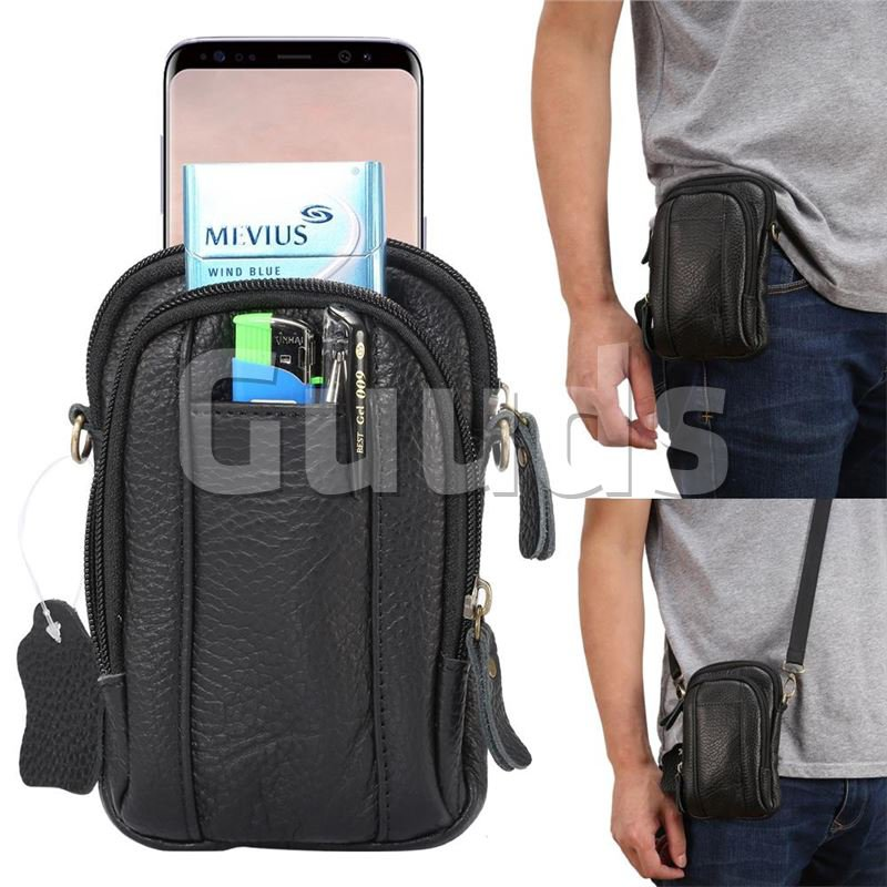 Universal Litchi Genuine Leather Holster Satchel Multi-functional Waist Phone Bag Pocket Case - Black - Phone Accessories - Guuds