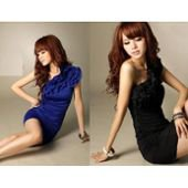 Robe de soirée tendance, bleu/noir, femme sur PriceMinister