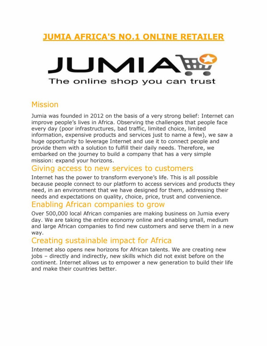 JUMIA AFRICA'S NO.1 ONLINE RETAILER