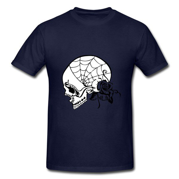 Skull Art Navy Heavyweight T-shirt For Men on Sale-HICustom.net