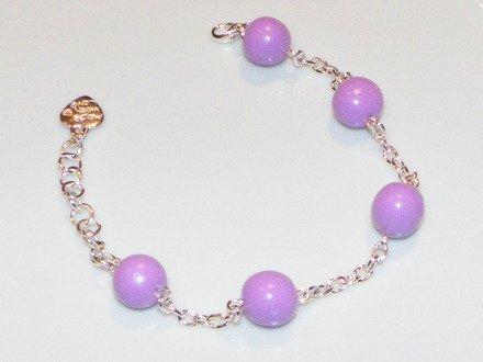 Bracelet perles de fimo couleur lavande