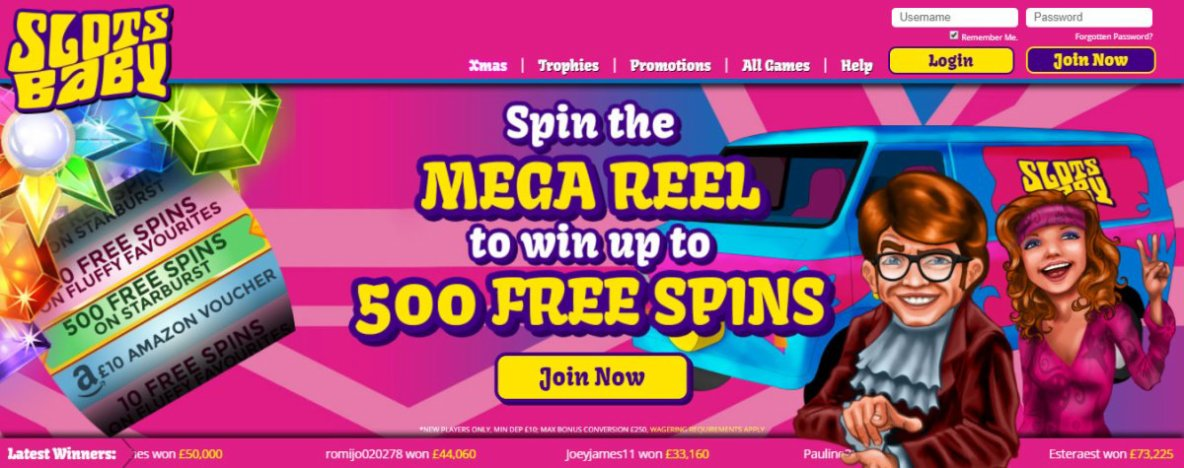 Slots Baby | Win Up To 500 FREE SPINS on Starburst