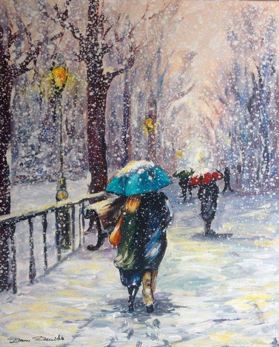 Winter Fun - Unique et original à l'huile sur toile signée par Dam Domido