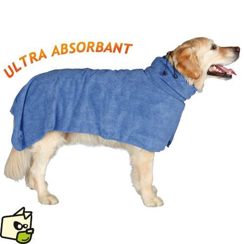 peignoir de bain pour chien en tissu microfibre pour absorber l'humidité